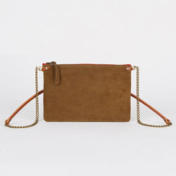 Suede Leather Crossbody Bag Tobacco