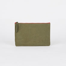 Load image into Gallery viewer, Suede Leather Pouch Khaki