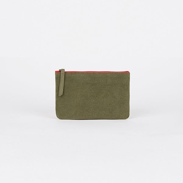 Suede Leather Pouch Khaki