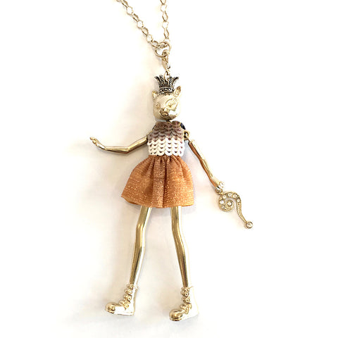 Doll Necklace - Crowned Cat with Copper & White Sequin Dress