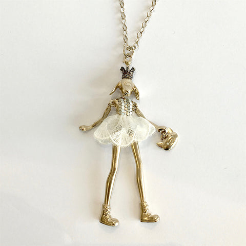 Doll Necklace - Crowned Dog with WhiteJewelled Dress