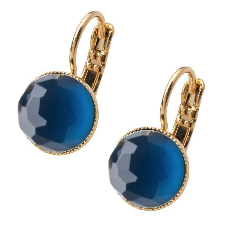 Pom Crystal Earrings Short Dark Blue