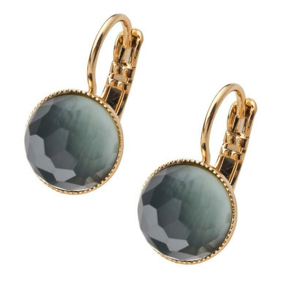 Pom Crystal Earrings Short Grey