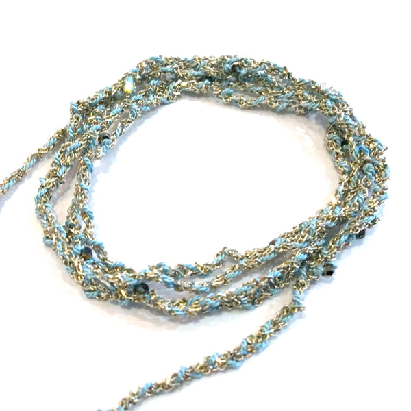 Jewelled Silk & Crystal Wrap - Silver and Blue
