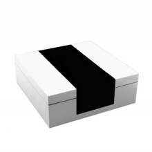 Load image into Gallery viewer, White and Black Hinged Box
