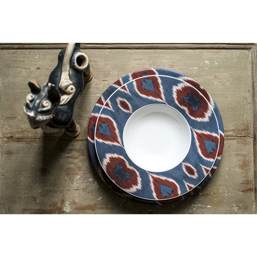 Porcelain Ikat Plates - Red
