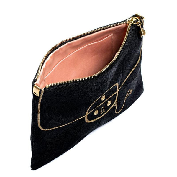 Embroidered Clutch Small - Black with Gold Coco