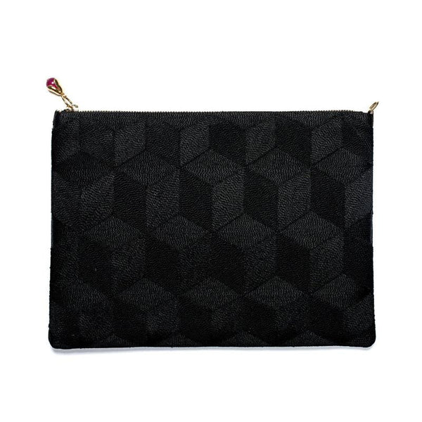 Embroidered Clutch Small Black