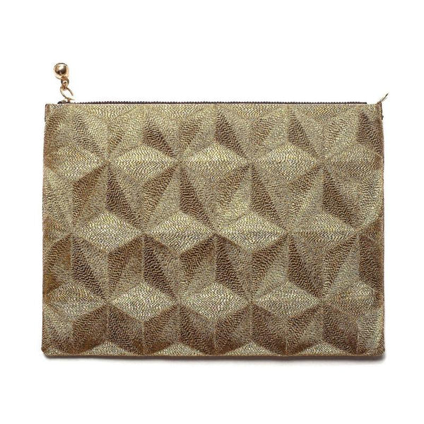 Embroidered Clutch Gold - Medium