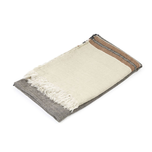 The Belgian Linen Throw/Towel - Beeswax Stripe