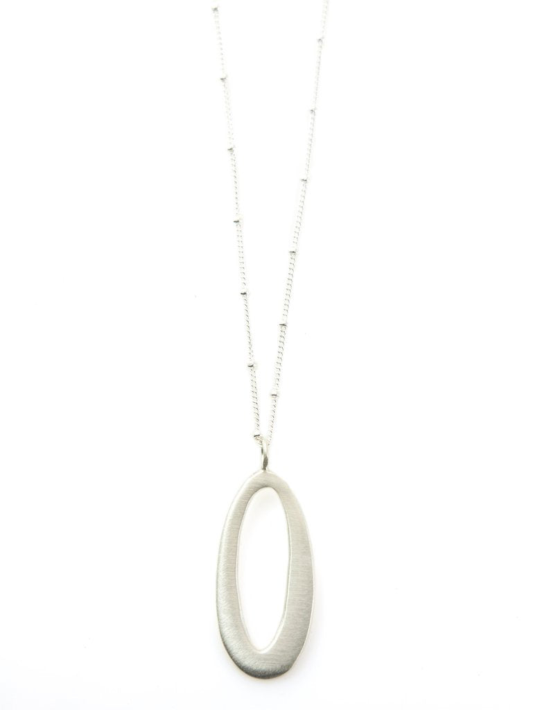 Medium Oval Silver Necklace