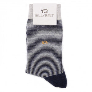 Dark blue and white striped cotton socks with small yellow fish detail.