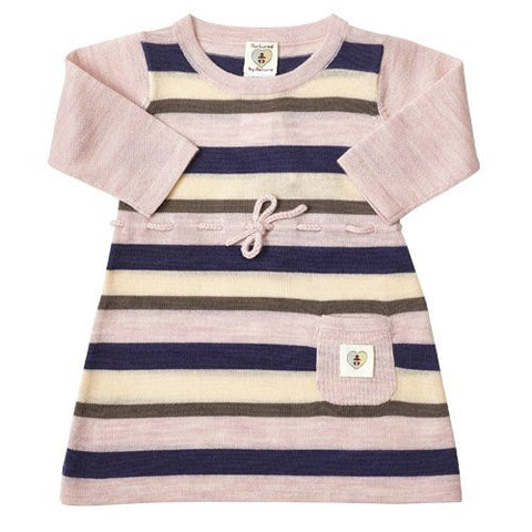 Multi Stripe Merino Dress - French Navy/Candytuft Pink