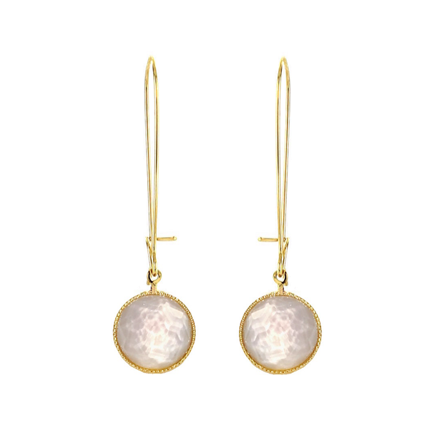 Pom Crystal Earrings Long Nude