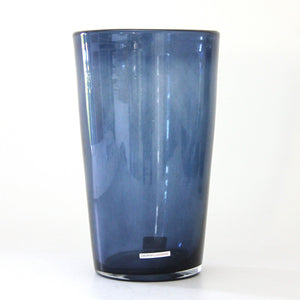 clear blue vase - cylinder with slightly smaller base than rim