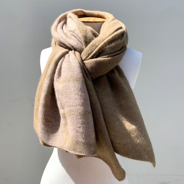 Cashmere Shawl Ecru & Light Coffee