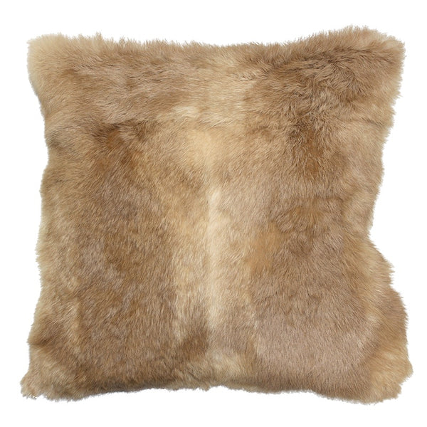 Rabbit Fur Cushion - Natural Fawn Square