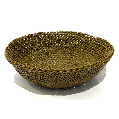 Crocheted & Resin Medium Hemp Bowl - Olive Green