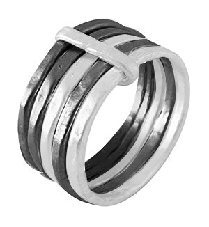 Sophie 5 Mix Ring Sterling Silver & Ruthenium