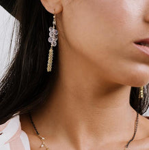 Load image into Gallery viewer, clear glass pebbles with chain tassles long drop earings on model