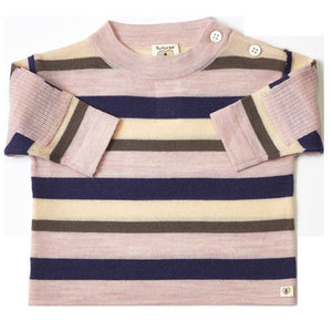 Multi Stripe Merino Top - French Navy & Candytuft Pink