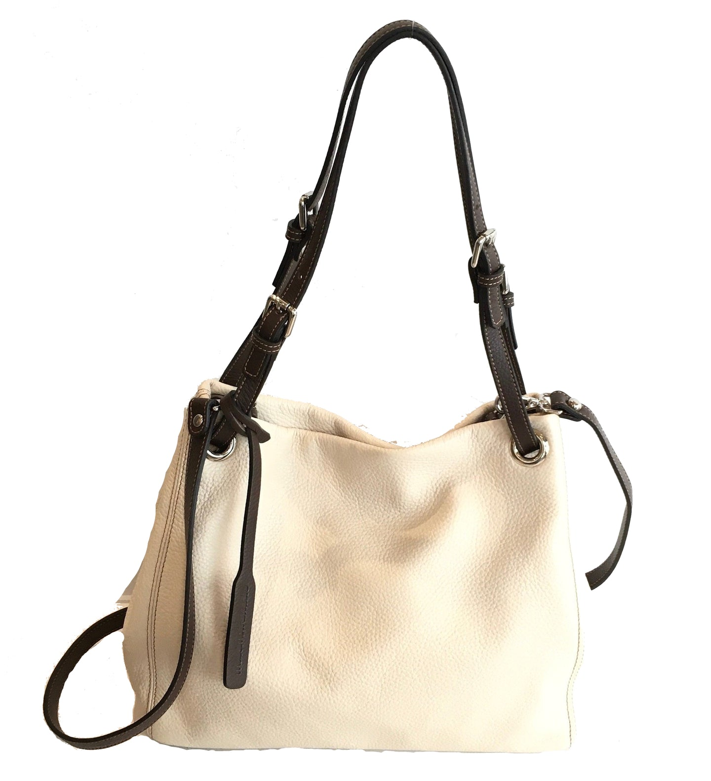 cream leather shouldre bag with brown handles