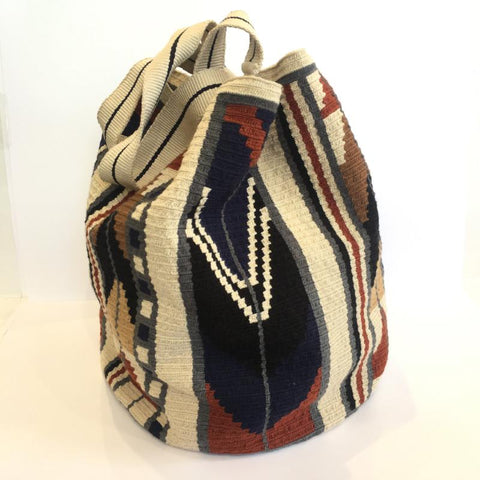 Wayuu Large Tote - Rust, Brown & Blue
