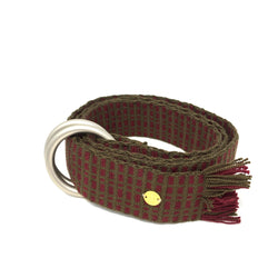 Woven Belt with Fringe Burgundy & Brown