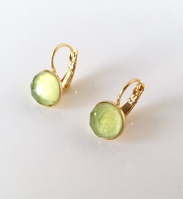 Pom Crystal Earrings Short Light Green