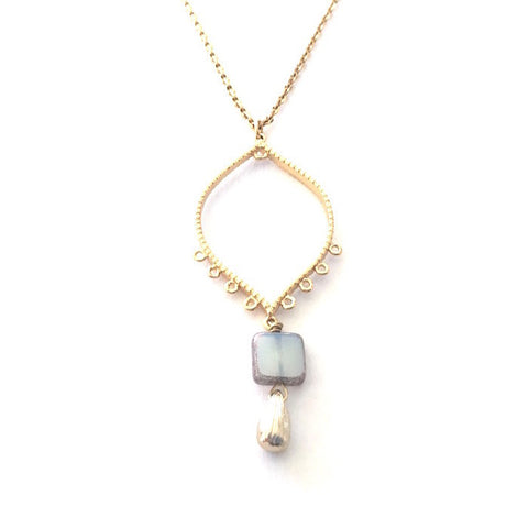 Teardrop Necklace - Light Blue