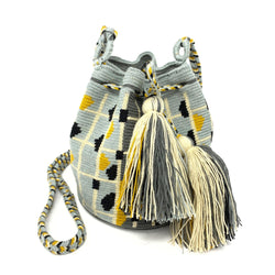 Wayuu Small Bag - Light Grey Blue & Mustard