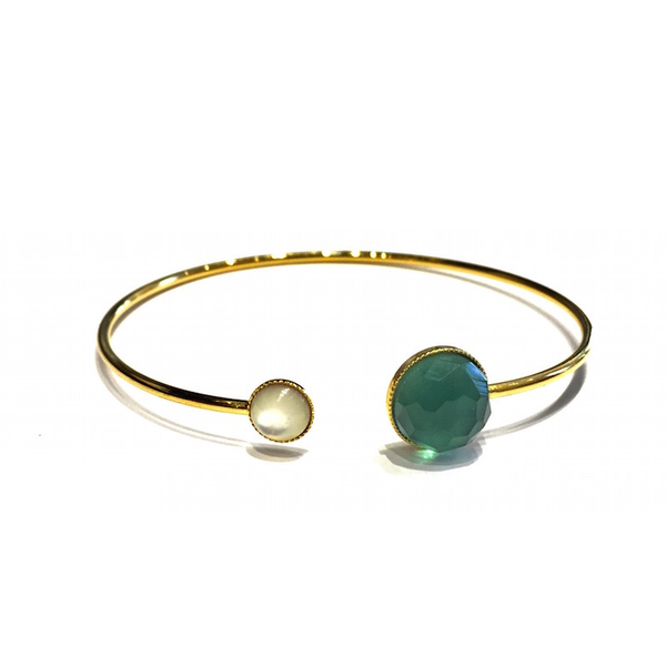 Pom Crystal Bracelet Blue Green