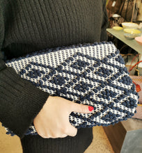 Load image into Gallery viewer, eco friendly organic cotton Antonello Tedde Clutch hand stitched dark blue and white