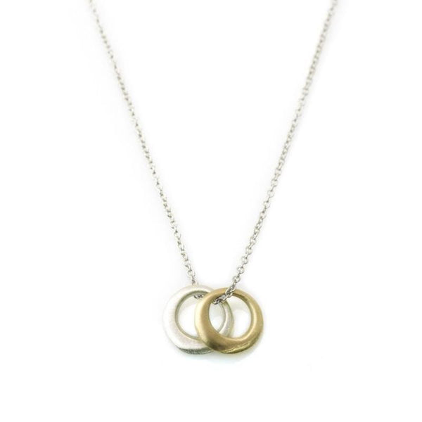 14K Gold & Silver Discs Necklace