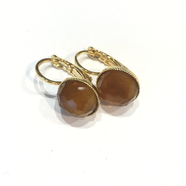Pom Crystal Earrings Short Ochre