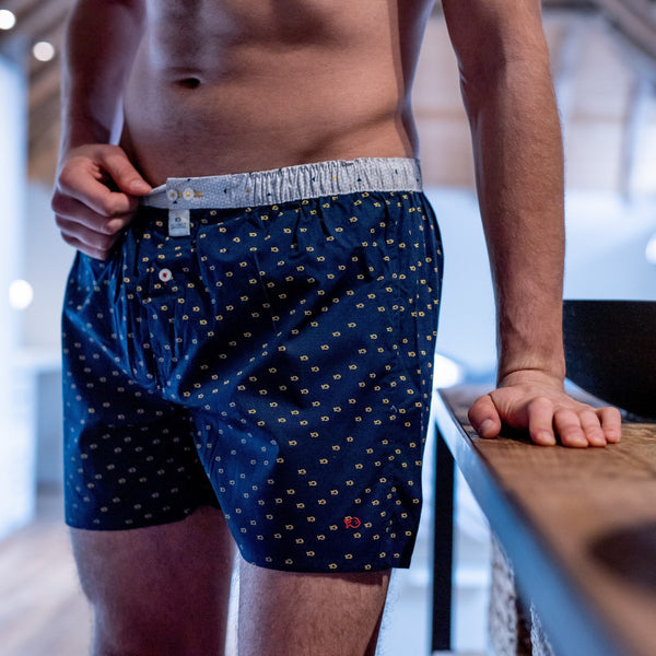 Mens Cotton Boxer Shorts - Navy