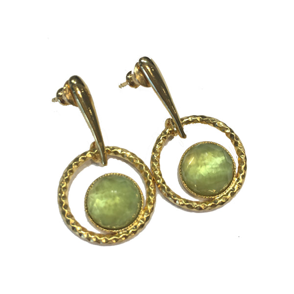 Pom Crystal Circle Earrings Light Green