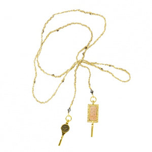 Wrap Necklace/Bracelet Gold and Grey Key Charm
