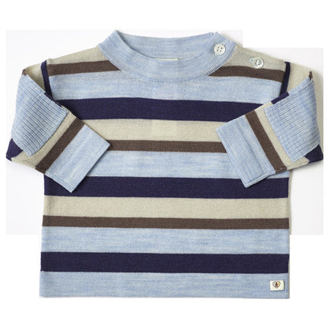 Multi Stripe Merino Top - French Navy & Cornflower Blue