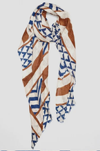 Load image into Gallery viewer, Arrows Blue Linen Scarf