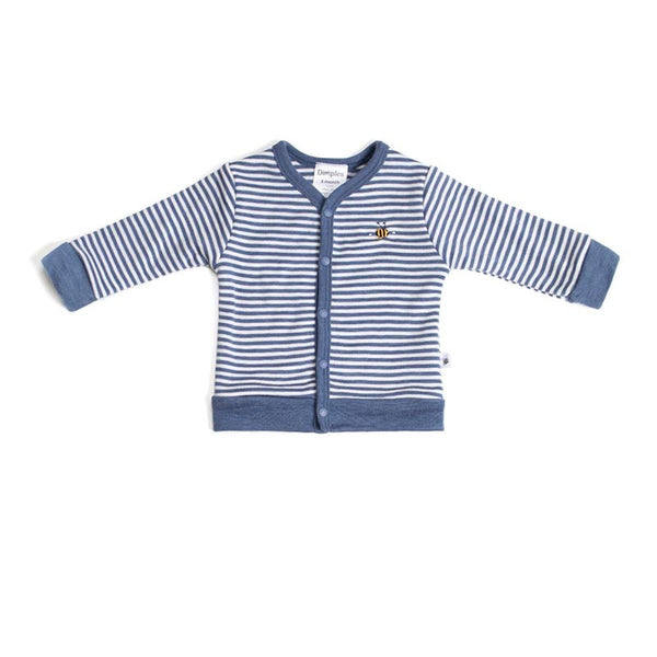 Merino 2ply Cardigan Denim Stripe
