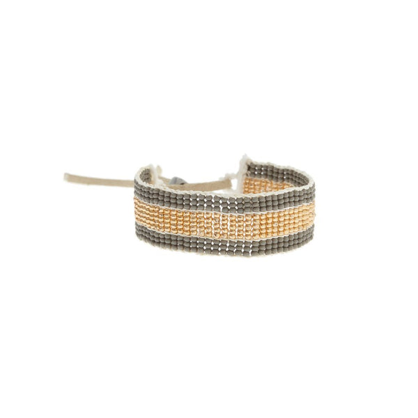 Warrior Bracelet - Narrow Stripe Grey & Gold