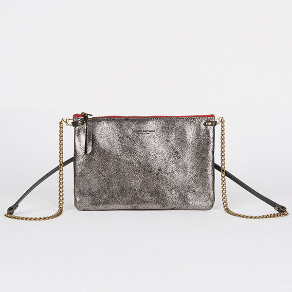 Leather Crossbody Bag Silver Black