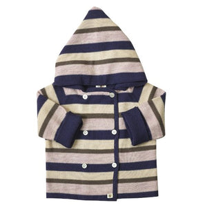 Multi Stripe Merino Jacket - French Navy/Candytuft Pink