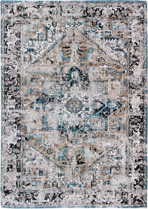full view of pale faded carpet with blue detail