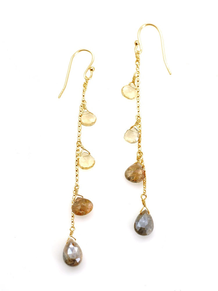 Citrine, Andalusite, Zircon Drop Earrings - Gold Vermeil