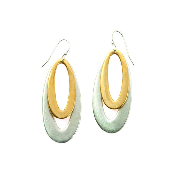 Double Medium Ovals Silver & Vermeil