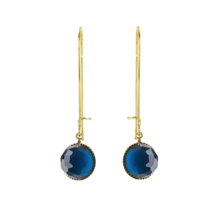 Pom Crystal Earrings Long Dark Blue