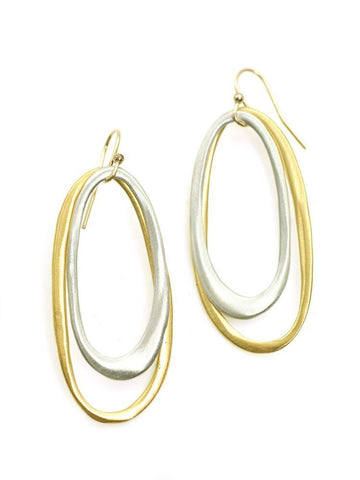 Double ovals, silver & vermeil earrings
