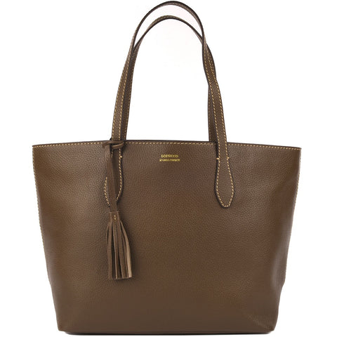 Leather Shopper Bag - Khaki